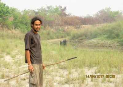 Kingfisher Jungle Guide with Rhino in Bardia